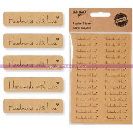 """Set of 28 paper sticker """"Handmade with Love"""", 41 x 10 mm self-adhesive"""