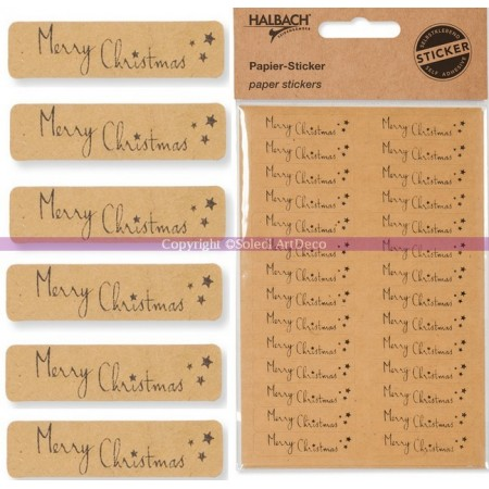 """Board of 28 """"Merry Christmas"""" Writing Paper Stickers 41x10mm"""