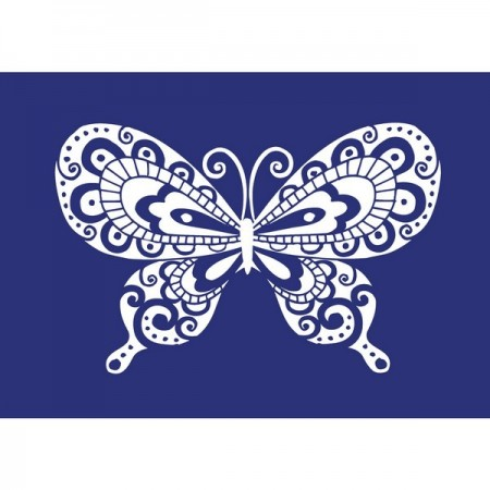 Reusable self-adhesive stencil, Butterfly, A4, with squeegee, for Textile Printing