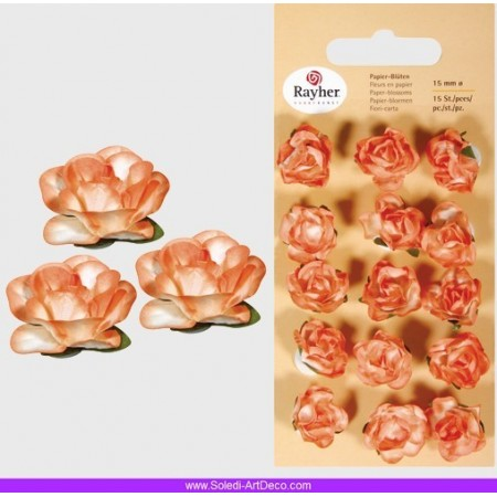 Lot de 15 Têtes de Rose Orange, Bouton de rose de 15 mm en papier
