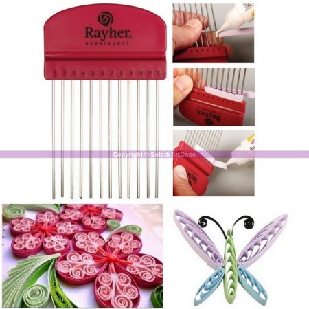 Quilling tool Comb with 12 teeth, for the creative Quilling technique, 10.5 cm x 6.5 cm