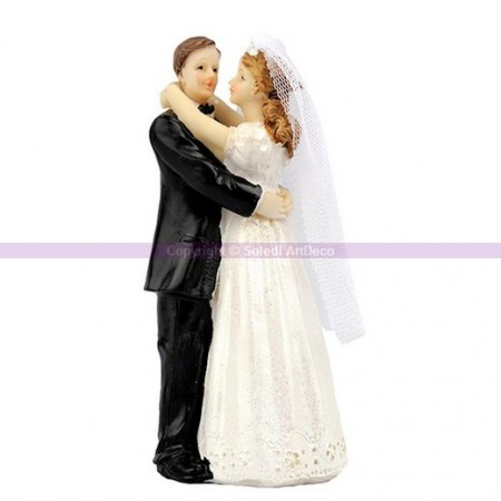 Traditional married couple in resin, figurines for wedding cake, 12 cm