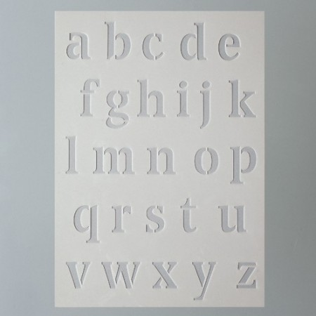 Stencil, Plastic Board 15x21cm, Alphabet letters, small writing, for Scrapbooking