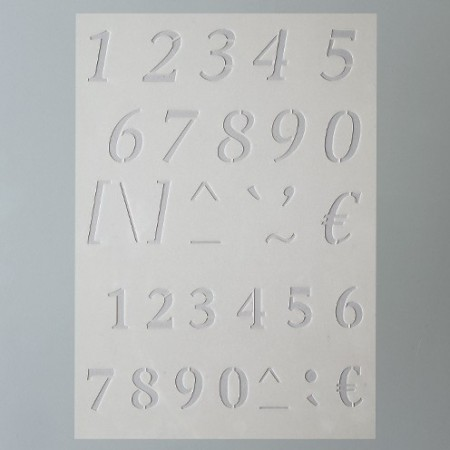 Stencil, Plastic Board 15x21cm, Numbers, Signs and Mathematical Symbols, for Scrapbooking