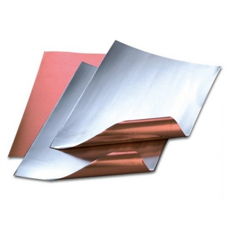 Set of 3 aluminum sheets, copper / silver, 20 x 30 cm, th. 0.15 mm