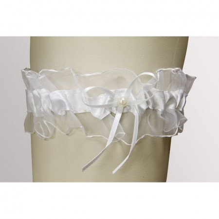 Bride Garter, In veil, White Satin and Small bow with waxed Pearl 7mm, Dimension 18cm x 7cm