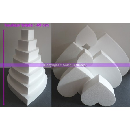 Polystyrene Disk Shape Dummy Cake Heart, 49 cm total height, 7 slices, high density 28 kg/m3