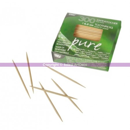 Lot de 300 Cure-dents en bois, long. 65 mm, diam 2 mm