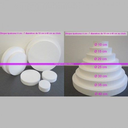 Polystyrene disc, thickness 4 cm, 9 different diameters, high density 28 kg/m3