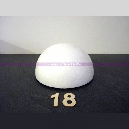 Polystyrene half sphere, hollow dome, diameter 18 cm, wall thickness 15mm, high density