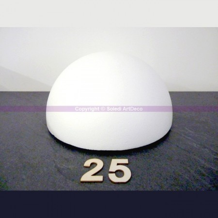 Polystyrene half sphere, hollow dome, diameter 25 cm, wall thickness 22mm, high density