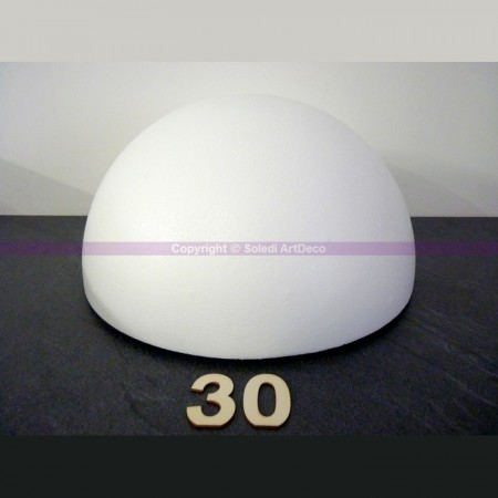 Polystyrene half sphere, hollow dome, diameter 30 cm, wall thickness 22mm, high density