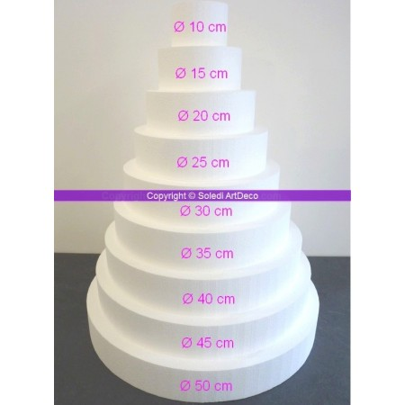 Polystyrene Disk Shape Dummy Wedding Cake, 90 cm total height, 50 cm base diameter, high density