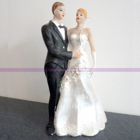 Romantic married couple in resin, height 18 cm, wedding cake figurines