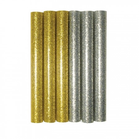 Set of 6 Gold and Silver glitter Sticks refills for hot glue gun, diam 11.2 mm, 10 cm
