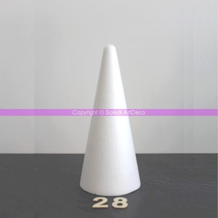 Polystyrene Cone 28 cm height, 12 cm base diameter, high density