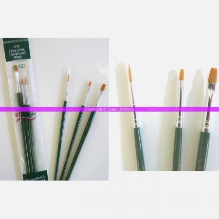 Set of 3 brushes: 2 Plates and 1 Gold Nylon Script Liner, for the technique One stroke by Donna Dewberry