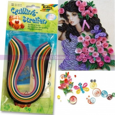 Set de 280 bandelettes de papier Quilling, 14 couleurs assorties
