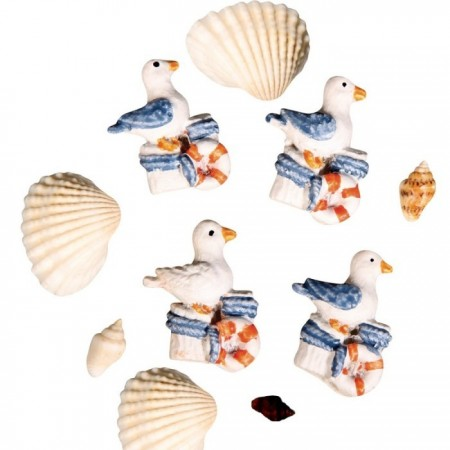 Set of 4 Gulls 27 mm resin, natural shell from 8 to 27 mm