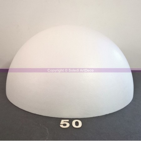 Polystyrene half sphere, hollow dome, diameter 50 cm, wall thickness 20mm, high density