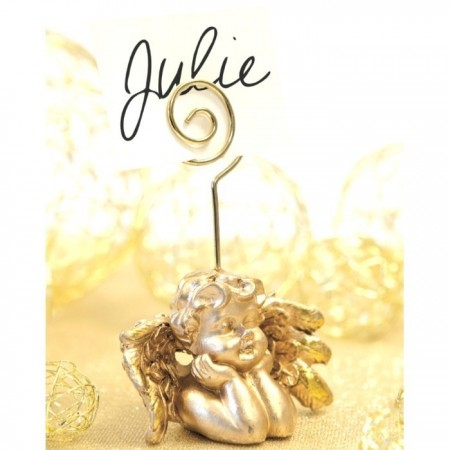 Golden angel place card, Angelot nameplate in resin, 5.5 x 5 x 9 cm