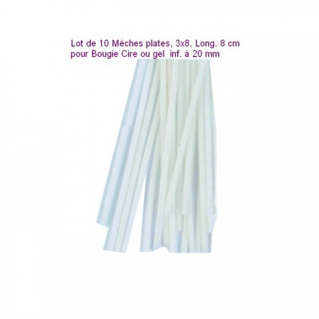 Lot de 10 Mèches plates, 3x8, Long. 8 cm pour Bougie Cire ou gel  inf. à 20 mm