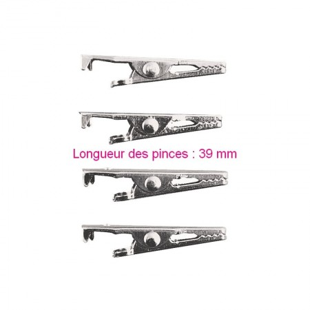 Lot de 4 Pinces crocodiles en métal, Longueur 3 cm