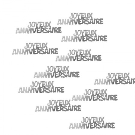Sequins Happy Anniversary in French silver writing, decorative to spread or to stick, long. 5 cm, bag of 10 g