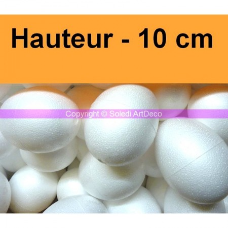 Set of 10 polystyrene eggs, 10 cm, diameter 8 cm, high density