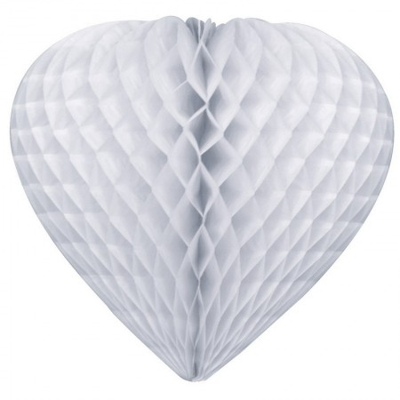 Honeycomb heart, white, made of fireproofed paper, diameter 30cm, to hang up