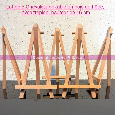 Set of 5 beech wood easels, tripod, height 16 cm, menu card holder