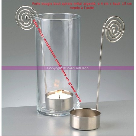 Silver metal spiral end candle holder, base diameter 4 cm x height 15 cm
