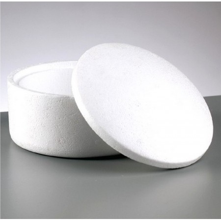 Polystyrene box with lid, diameter 14.5 cm, height 9 cm
