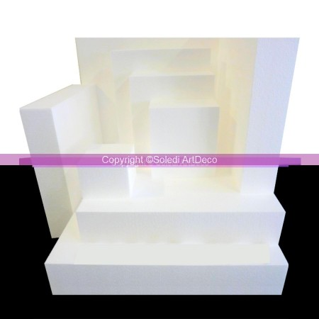 Polystyrene dummy Square, 10cm height, 9 different widths, high density 28 kg/m3