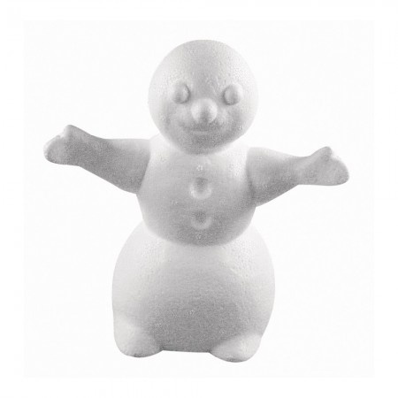 Polystyrene form snowman with arms outstretched, height 16.5 cm, width 15cm, high density