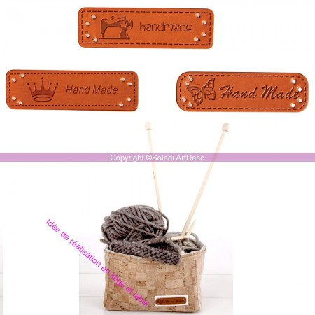 Set of 3 Labels in imitation leather, Handmade, Sew-on label, with 3 patterns, 4.9x1.5cm