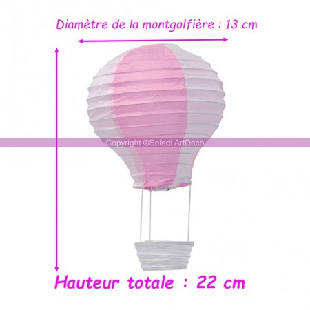 Paper balloon white and pink, height 40cm, diameter 25cm, to hang up