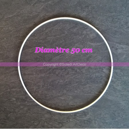 Large White Metal Circle of 50 cm for Shades, White Epoxy Wire ring for Dream Catcher