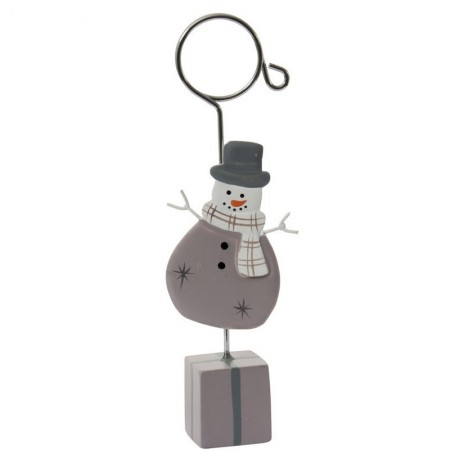 Placecard holder snowman on gift package, height 12 cm, color parma
