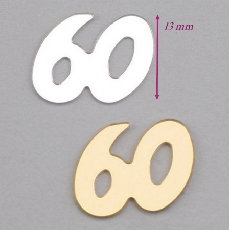 Golden and silver Sequins numeral 60, to spread or to stick for Anniversary, approx. 500 pieces, 13mm, bag of 20 g