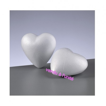 Polystyrene form heart 3D solid, 9 cm diameter, high density