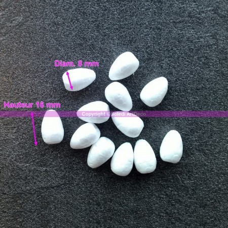 Set of 12 Polystyrene forms celbuds, height 16 mm, high density