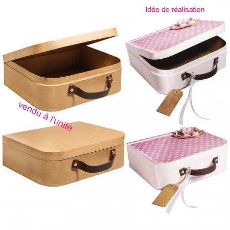 Cardboard suitcase with imitation leather handle, 21 x 17,5x6,5 cm, embellished with a decorative object