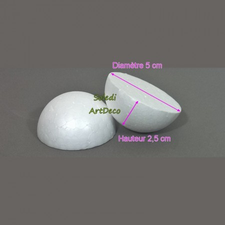 Set of 10 polystyrene half spheres, solid, diameter 5 cm / 50 mm, high density