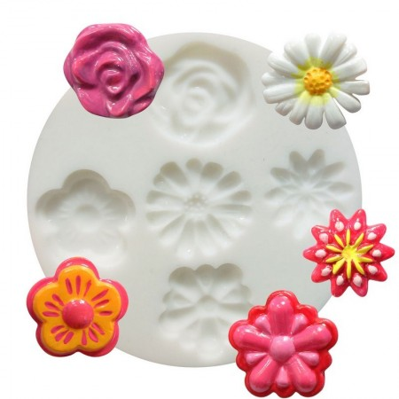 Silicone mold, 5 miniature patterns, Flowers, Daisy, Rose. 7cm round, extra flexible
