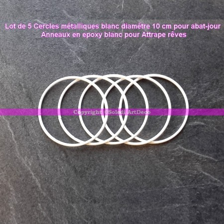Set of 5 white metal circles Diameter 10 cm for lampshade, epoxy wire ring for Dreamcatcher