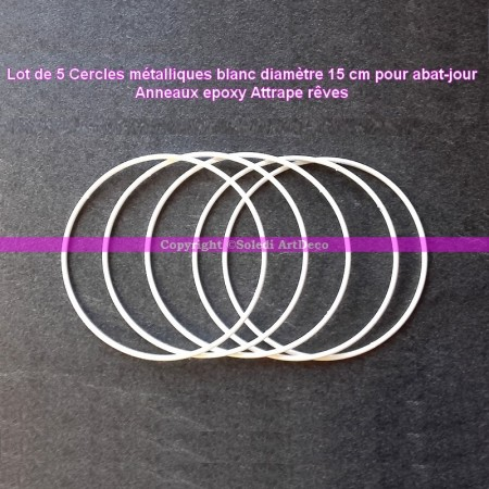 Set of 5 white metal circles Diameter 15 cm for lampshade, epoxy wire ring for Dreamcatcher