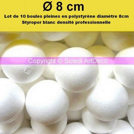 Set of 10 polystyrene balls PRO, solid, diameter 8 cm / 80 mm, very high density