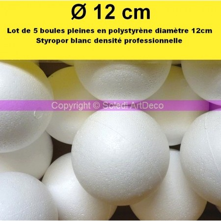 Set of 5 polystyrene balls PRO, solid, diameter 12 cm / 120 mm, very high density