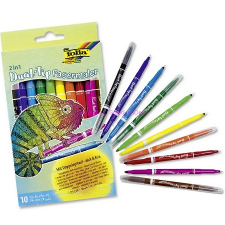 Pack of 10 Felt Pens, Assorted colors, Double tip marker: fine 0.5mm and wide 2mm, for coloring